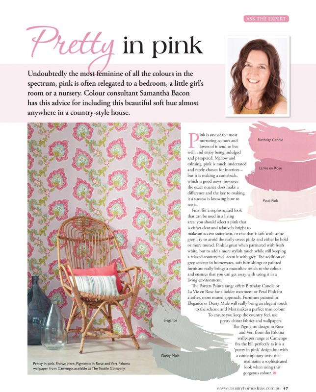 Country Home Ideas magazine - Pretty in Pink article