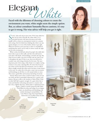 Article by Samantha Bacon in Country Home Ideas - How to use Elegant White