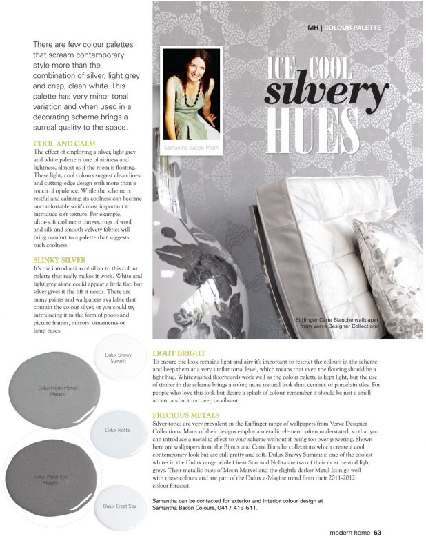 Modern Home Magazine - how to use Silver in your decorating scheme
