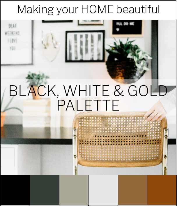 Black, White and Gold colour palette