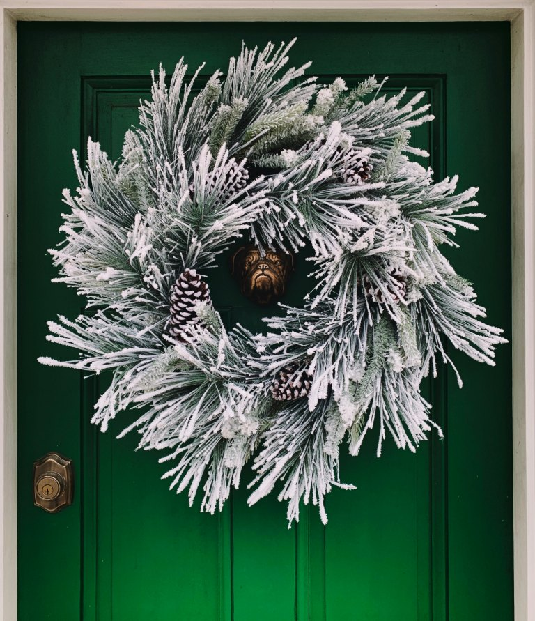 Contemporary Christmas silver wreath