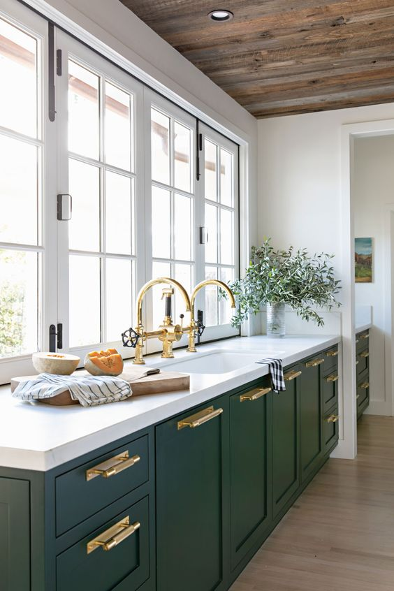 Have you considered green for your kitchen cabinets